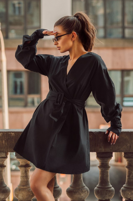 Rochie Camasa Belted Long Sleeve 0