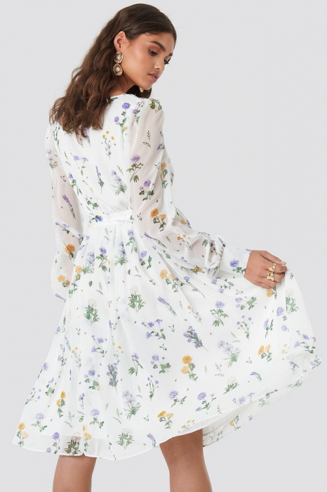 Puffy Shoulder Floral Midi Dress 1