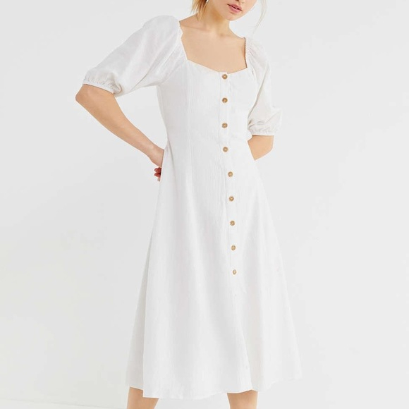 Rochie Puff Sleeve Button-Front Midi 2