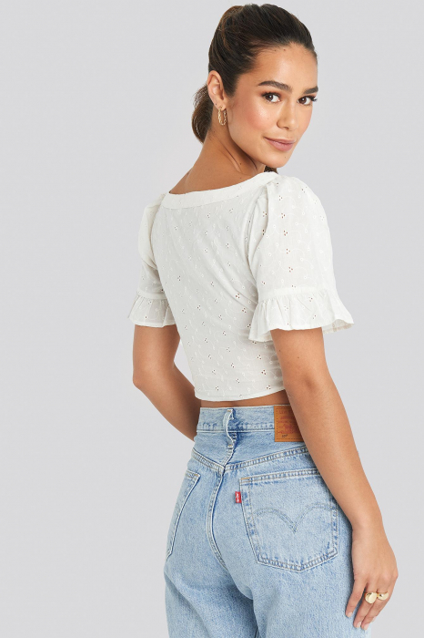 Tied Front Frill Sleeve Top 2