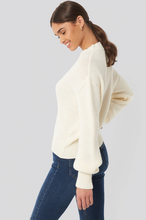 Pulover Balloon Sleeve Ribbed Sweater 3