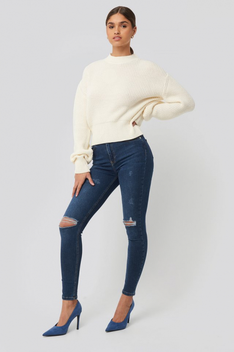 Pulover Balloon Sleeve Ribbed Sweater 1
