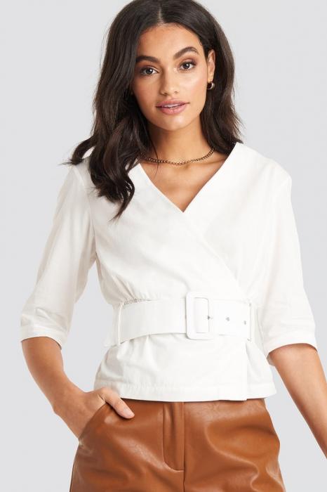 Belted Short Sleeve Blouse [0]