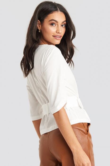 Belted Short Sleeve Blouse [1]