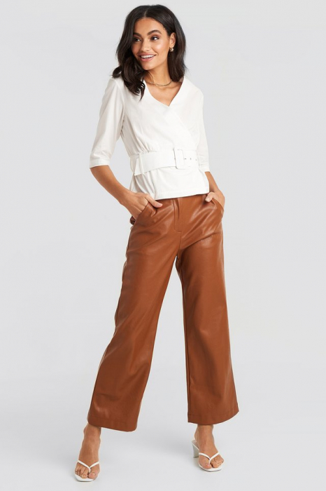Belted Short Sleeve Blouse [2]