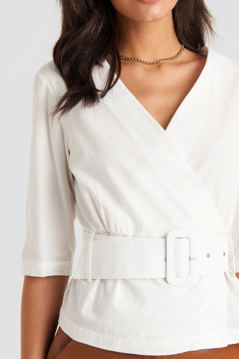 Belted Short Sleeve Blouse [3]