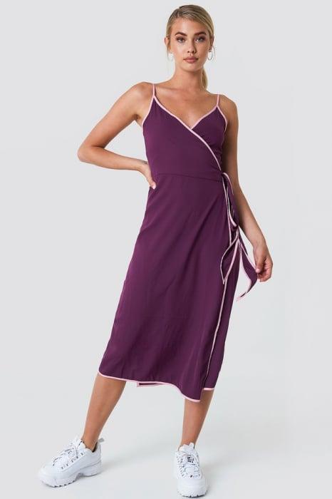 Rochie Binding Detail Wrap Over Dress 2