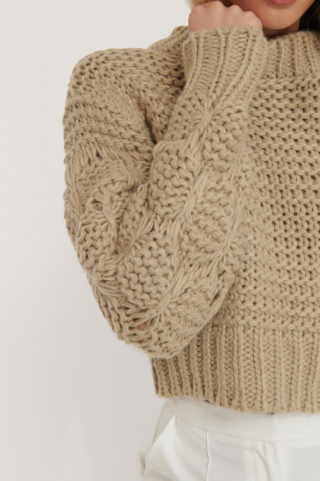 Pulover Bubble Sleeve Knitted Sweater 3