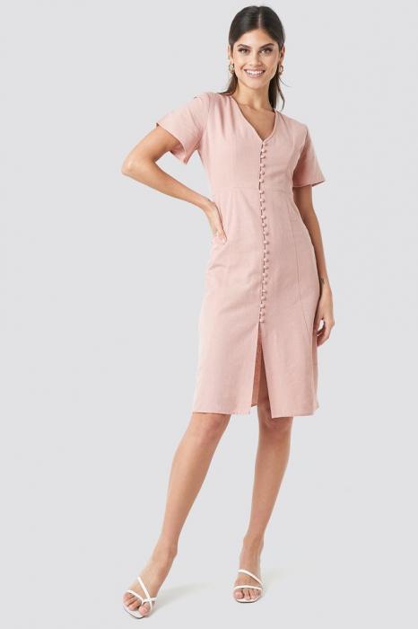 Rochie Button Front Linen-blend 0