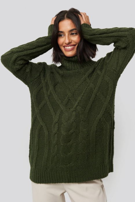 Pulover Cable Knitted High Neck [0]