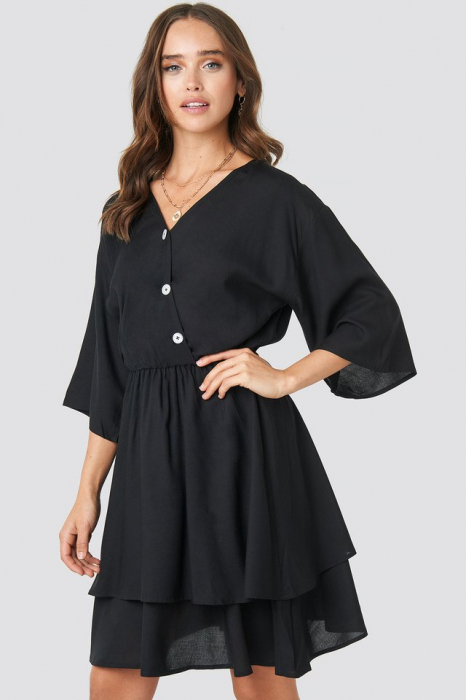 Rochie Contrast Button Layered 0
