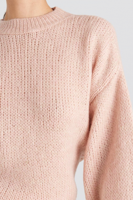 Pulover Crew Neck Volume Sleeve Knitted 3
