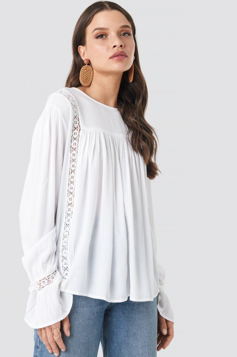 Bluza Crochet Detail Flowy Cotton Top 0