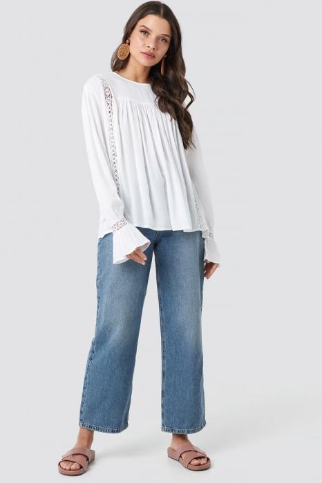 Bluza Crochet Detail Flowy Cotton Top 2