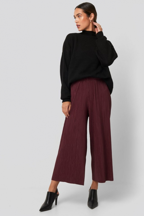 Pantaloni Cropped Plisse Culottes 0