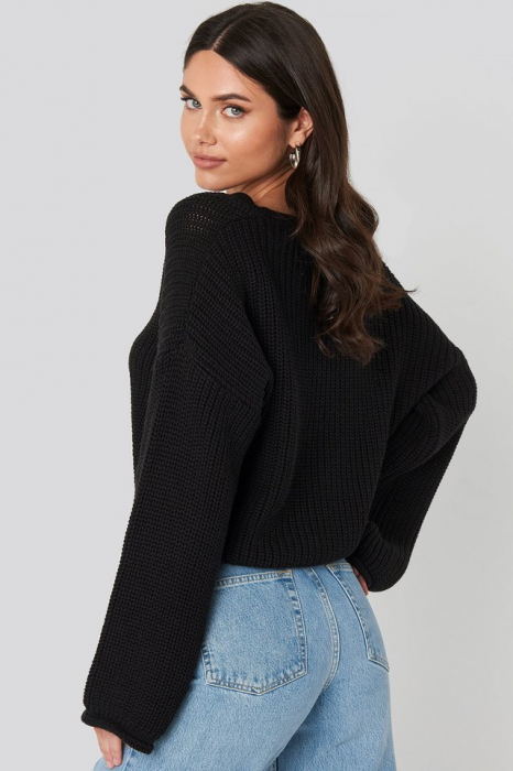 Pulover Cropped V-neck Knitted [1]