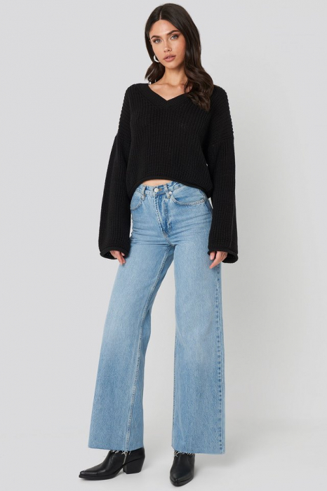 Pulover Cropped V-neck Knitted [2]