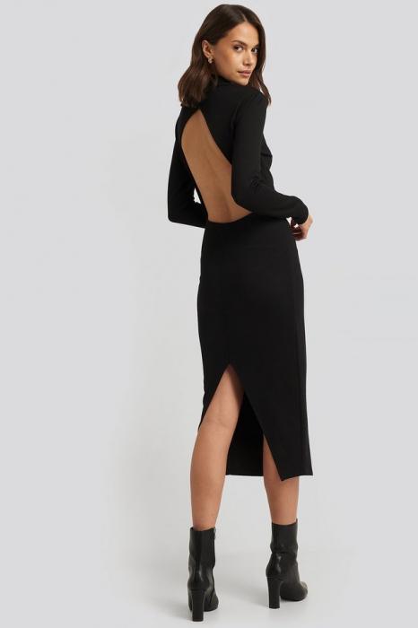 Rochie Cut Out Back Long Sleeve Midi Dress [0]