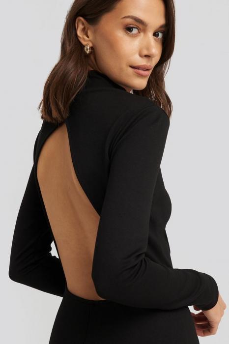 Rochie Cut Out Back Long Sleeve Midi Dress [2]