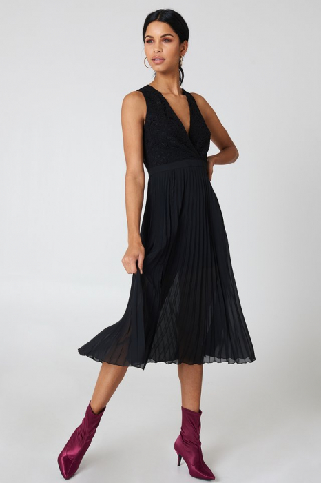 Rochie Deep Neck Pleated 2
