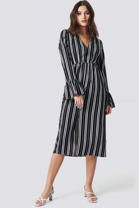 Elastic Waist Flute Sleeve Dress 0