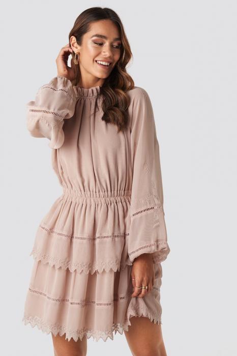 Embroidery Mini Dress 0