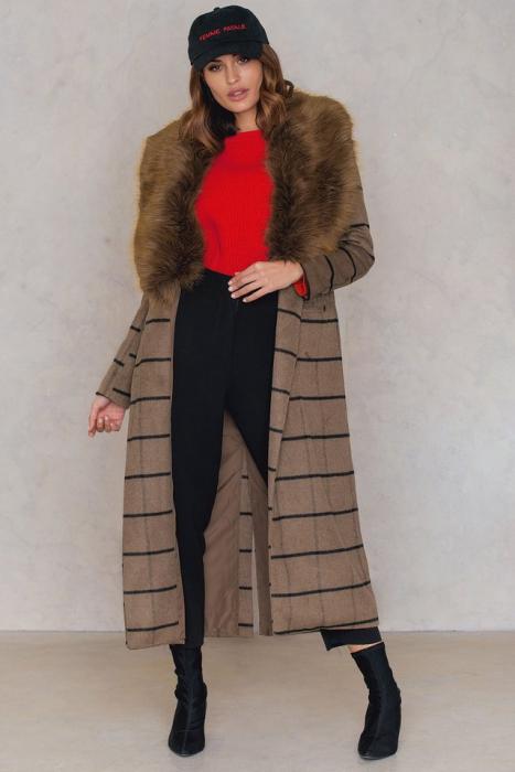 Palton Faux Fur Collar Coat NA-KD, Brown [0]