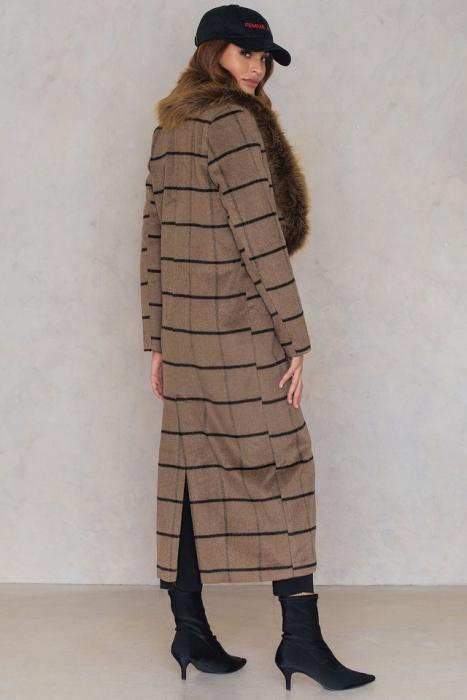 Palton Faux Fur Collar Coat NA-KD, Brown [2]