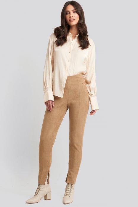 Pantaloni Faux Suede Zip Detail 0