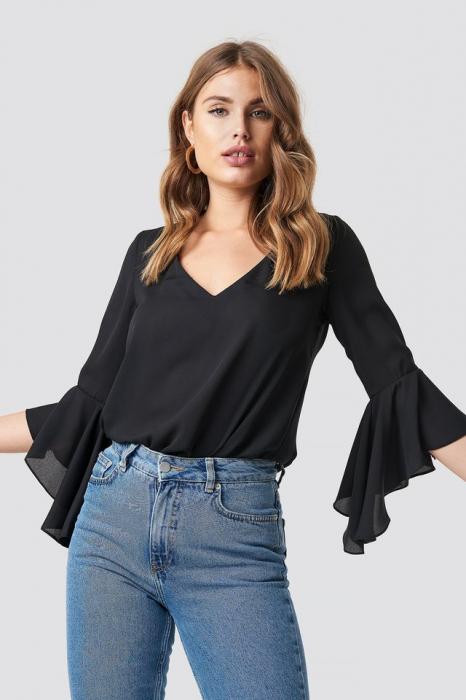 Bluza Flounced Sleeve V-Neck [0]