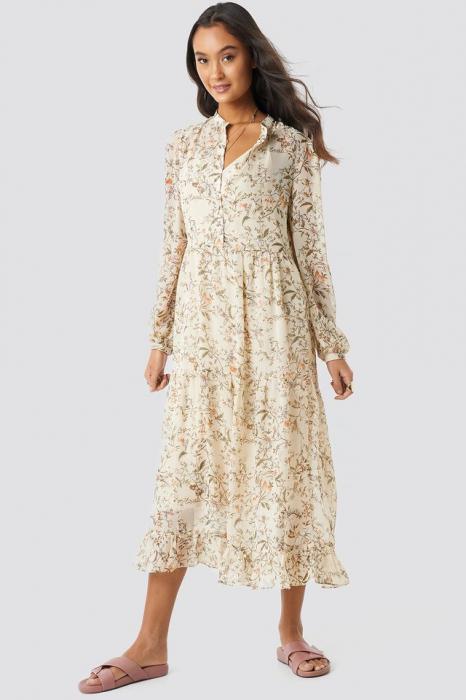 Flower Print Tiered Midi Dress 0