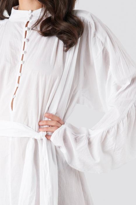 Camasa Gathered Sleeve Tied Waist 1