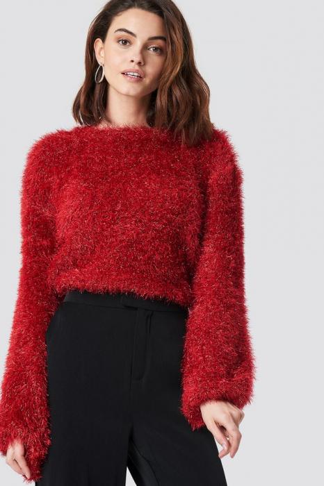 Glittery Balloon Sleeve Sweater 0