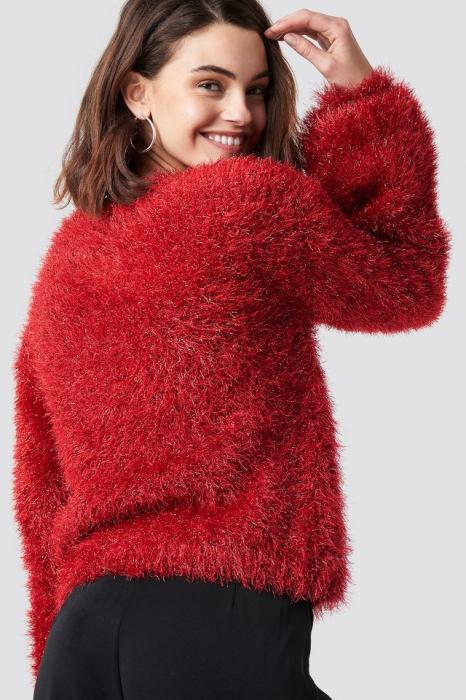 Glittery Balloon Sleeve Sweater 1