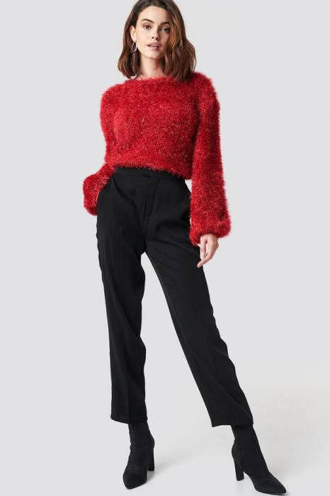 Glittery Balloon Sleeve Sweater 2