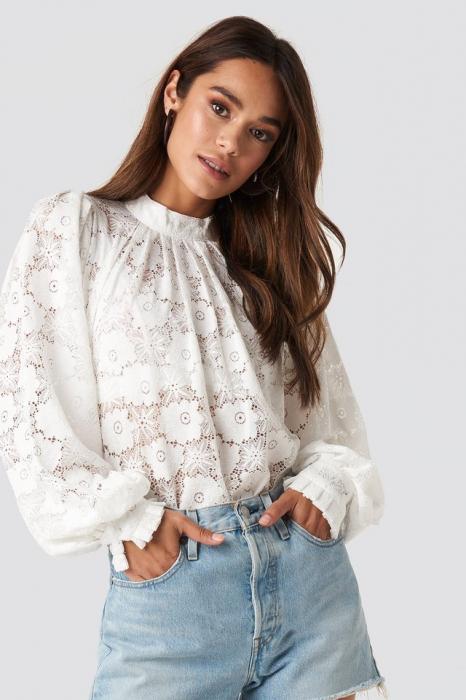 Bluza High Collar Flower Lace W [0]