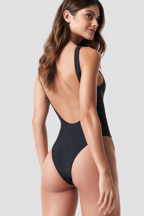 High Leg Swimsuit Black 1