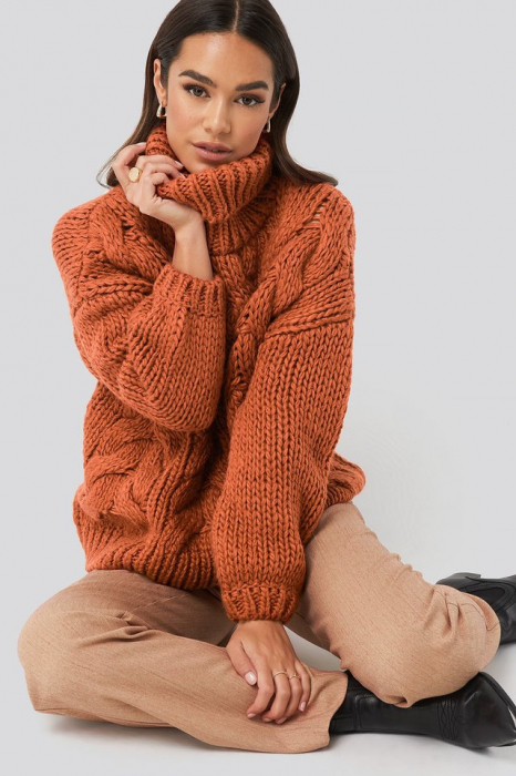 Pulover Wool Blend High Neck Heavy Cable Knitted Sweater [0]