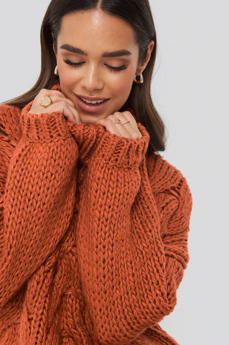 Pulover Wool Blend High Neck Heavy Cable Knitted Sweater [2]