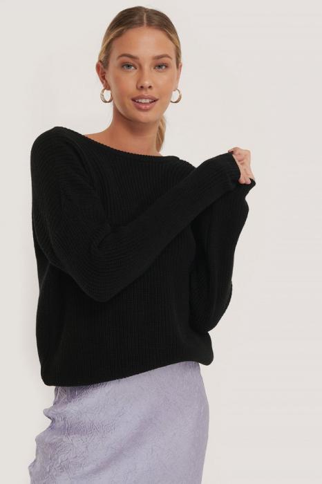 Pulover Knitted Deep V-Neck Sweater Back [1]