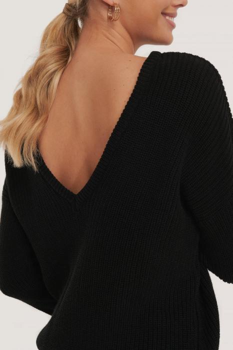 Pulover Knitted Deep V-Neck Sweater Back [3]
