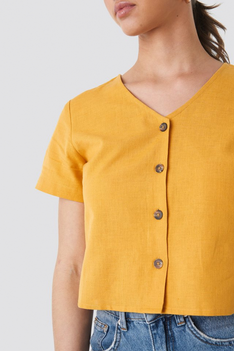 Top din in Linen Look Buttoned [3]