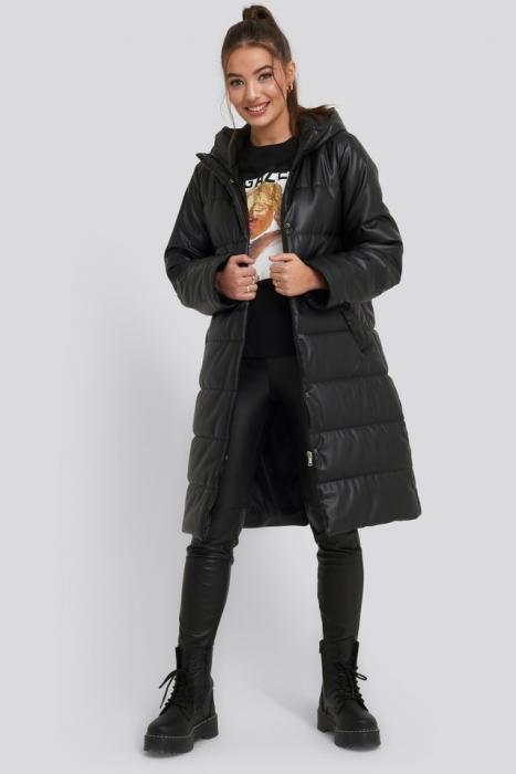 Jacheta Long PU Padded Jacket [1]
