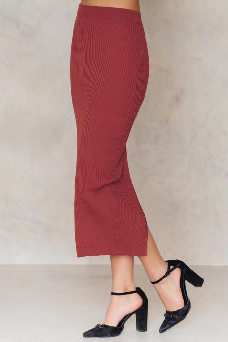 Fusta Long Rib Knitted Slit Back Skirt 1