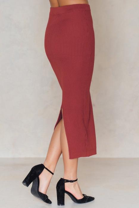 Fusta Long Rib Knitted Slit Back Skirt 2