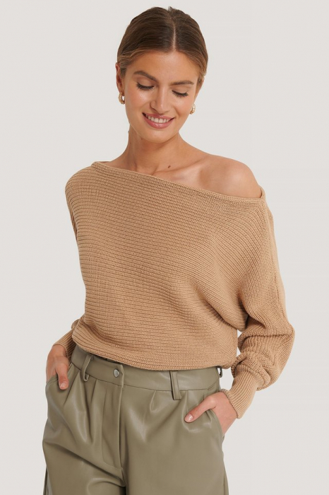 Pulover Off Shoulder Knitted Sweater [0]