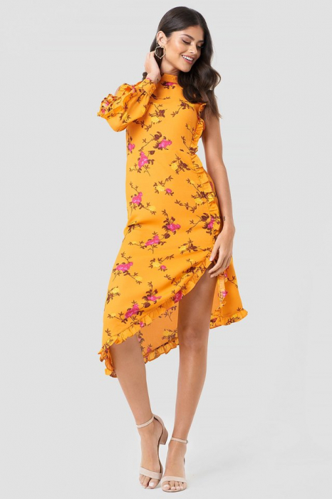 Rochie One Sleeve High Neck Frill 0