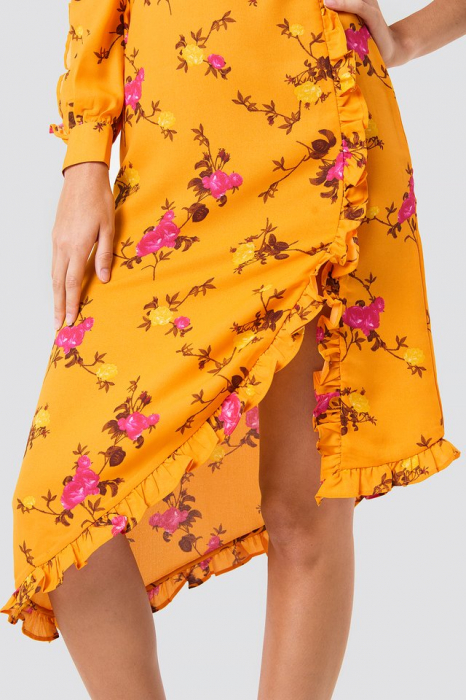 Rochie One Sleeve High Neck Frill 1