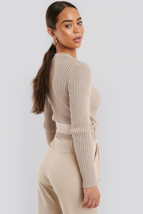 Pulover Overlap Ribbed Knitted 1