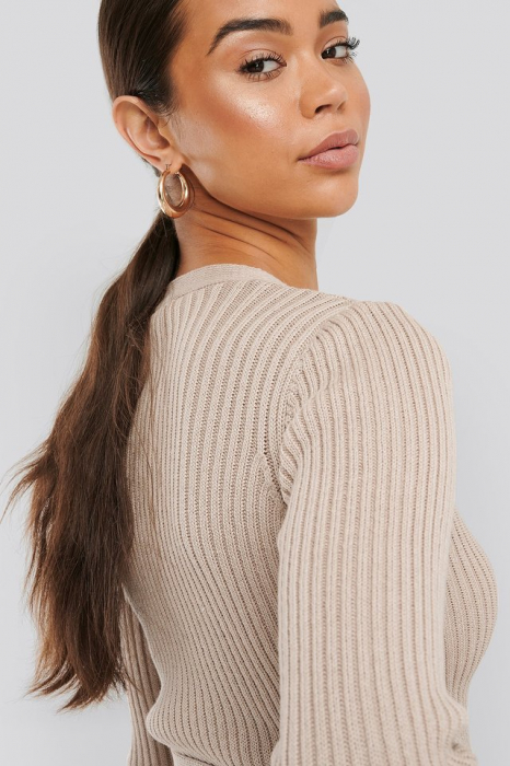Pulover Overlap Ribbed Knitted 2
